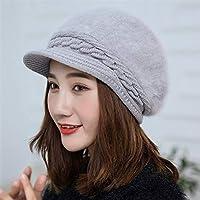 XAYTYKHBHDAU Autumn and Winter Knitted hat Rabbit Fur Solid Color Twist Wool Cap Benn Warm Winter hat (Color : Grey)