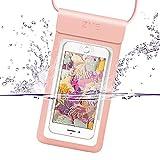 ZVE® 完全防水ケース IPX8規格 指紋認証対応 スマホ 防水ポーチ iphone x ケース iPhone SE/5/5s/6/6s /Plus/7/7 plus iphone8/8 plus Sony/Samsung/Huawei/LGなど6インチ以下全機種対応 高感度タッチスクリーン ネックストラップ付(rose gold)