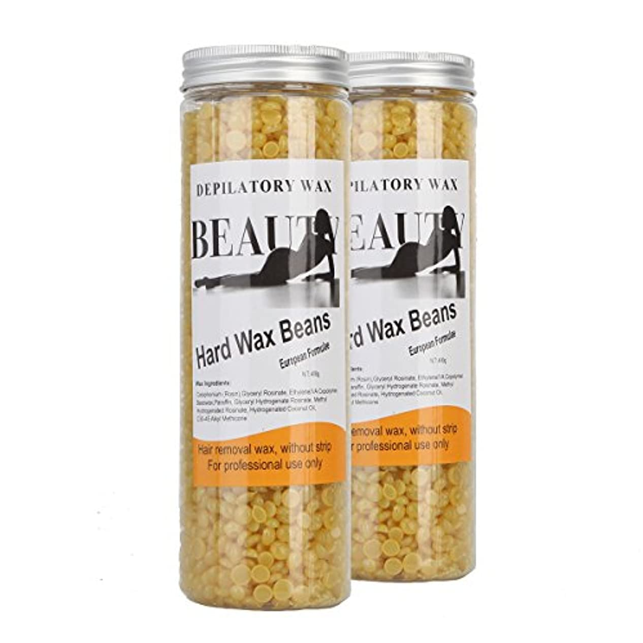 適用済みガラス膨張する(アーニェメイ)Bonjanvye ワックス脱毛 キット 400g 2缶 脱毛ワックス ハード ブラジリアンワックス ハード 粒-ハチミツ