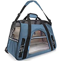 Ltuotu Airplane Approved Pet Carriers for Dogs & Cats Travel Carrier with Removable Fleece Mat fit for Small Pets 3-6kg