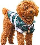 ペット 服 犬 猫 用 シャツ ドッグ ウェア チェック 柄 コットン 綿 製 春 夏 秋 用 襟 付Tシャツ ジャケット ペット用品 (グリーン XL)