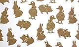 30個 アヒル・子ブタ・ウサギのシルエットチャーム アソートセット マットゴールド【当社オリジナル】【6/30入荷】