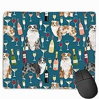 オーストラリアンシェパードの犬とワインのデザイン - レッドメルルとブルーメルルドッグ - ブルーマウスパッド 25 x 30 cm
