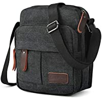 "Koolertron Vintage Canvas Crossbody Shoulder Bag Lightweight Small Satchel Bag for Men & Women (Black, 9.05""(W)*10.63""(H)*4.33""(D))"