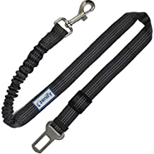 Zenify Dog Car Seat Belt Extendable Leash - Bungee Lead for Dogs Puppies - Pet Adjustable Elastic Seatbelt Harness Vehicle Safety Birthday Road Trip Gift Idea (Grey)