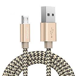 (Zeuste®)microusbケーブル高速充電ケーブル 高耐久ナイロン 2.4A急速充電 高速データ通信対応Samsung、Nexus、 LG、 Motorola 、Android スマートフォンその他USB機器対応できる(2色編み0.9M ブラック&ゴルード)