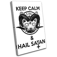 太字ブロックデザイン–Satan Sphynx CatヒップスタータイプUrban Singleキャンバスアートプリントボックスフレーム壁吊り下げ–Hand Made In The UK–Framed and ready to hang (F) 135x90cm 13-9054(00B)-SG32-PO-F