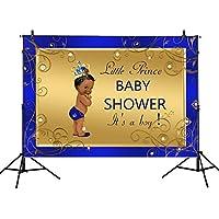 mehofotoゴールドとロイヤルブルーの背景幕7x 5ft Crowned Little Prince背景男の子ベビーシャワー誕生日パーティーカスタマイズバナーデザートテーブル