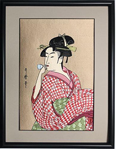 【刺繍 浮世絵】 喜多川歌麿 ビードロを吹く娘 太子木額 日本画 刺繍工房匠 embroidery painting ukiyoe