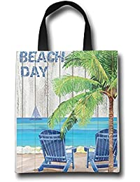 WACRDG Shopping Handle Bags,Beach Day Personalized Tote Bag