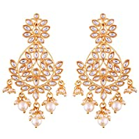 I Jewels Indian Bollywood Jewelry Round Chandbali Ethnic Earrings for women