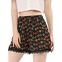 Allegra K Women's Allover Printed Lace Trim Elastic Waist Summer Shorts
