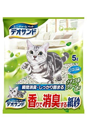 ユニチャーム デオサンド 香りで消臭する紙砂 ナチュラルグリーンの香り 5L