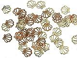 紗や工房 薄型メタルパーツ シェル(約5x5.5mm)約50個 ゴールド アートパーツ 埋め込み 封入資材 ネイル用品 デコ素材 手芸材料 部品 レジン