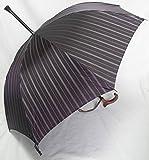 ステッキ傘 杖傘 傘杖 つえ傘 ステッキとしてご使用になれる「ステッキ傘(つえかさ)紳士用 甲州織マルチストライプ 」パープル