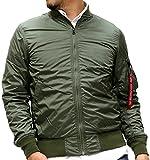 ALPHA INDUSTRIES(アルファインダストリーズ) フライトジャケット MA-1 薄手 リボン付 メンズ モスグリーン M