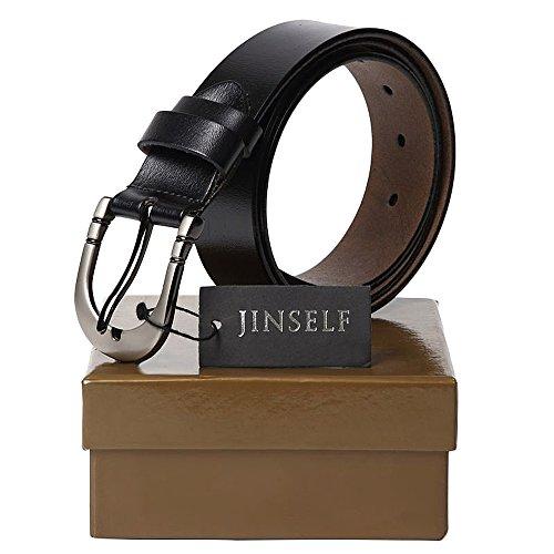 JINSELF ベルト メンズ 【本革】 レザー 革 バックル カジュアル ビジネス Ⅰ-Black