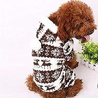 ペットの子犬犬の冬のコートスノーフレークペットフリース暖かい服パーカースーツのU69:ブラウン、L