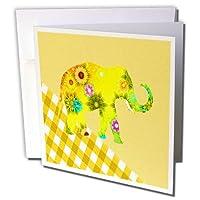 フローレン–装飾III–イメージのイエローフローラル柄Elephant on Yellow Plaid–グリーティングカード Set of 6 Greeting Cards