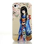 Cevio 正規品 iPhone4s case( 桜 と 博多人形 ) 背景の 桜 が彫刻柄 ブランド 携帯 iPhone4 4s カバー ケース アップル スマートフォン ジャケット アイフォン4s アイホン4s 女性 レディース 向け