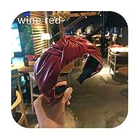 レトロ結びヘッドバンド手作りPUレザーボウヘアバンド女性ヘアアクセサリーワイドヘッドフープ女性ヘアバンドベゼルヘッドドレス-Wine Red-
