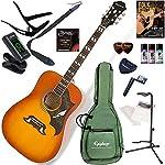 EPIPHONE アコースティックギター 初心者 入門 ピックアップ搭載の「ダブ」 セット内容をグレードアップした15点セット Dove PRO