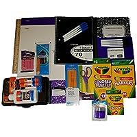 School Suppliesバンドル – パープル&ブラックマーブルコンポジションブック、フォルダ、鉛筆ボックス、はさみ、鉛筆、定規、消しゴム、鉛筆削り、機械鉛筆マーカー、接着剤スティック、クレヨンand More。
