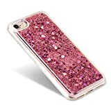 【EseekGO】iPhone 7 専用TPU ハードケース、多彩な流砂ケースFor iPhone7 【全5色】キラキラ 動く 流れ星 携帯ケースRed【レッド】