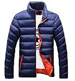 Spinas(スピナス) メンズ 冬 ダウン ジャケット カジュアル かっこいい 軽量 スリム 全3色 ネイビー ブラック ブルー (3XL, ネイビー)