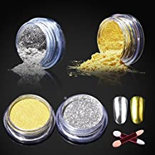 Elite99 Nail Gel Polish No Clean Top Coat Soak Off Uv Led Nail Polish Foundation Sealer Long-Lasting Gold Silver Chrome Powder+2 Sponge Sticks