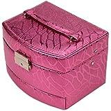 化粧オーガナイザーバッグ 光沢のあるポータブル多層化粧品美容メイクアップ化粧ケースロックと化粧品ミラー 化粧品ケース
