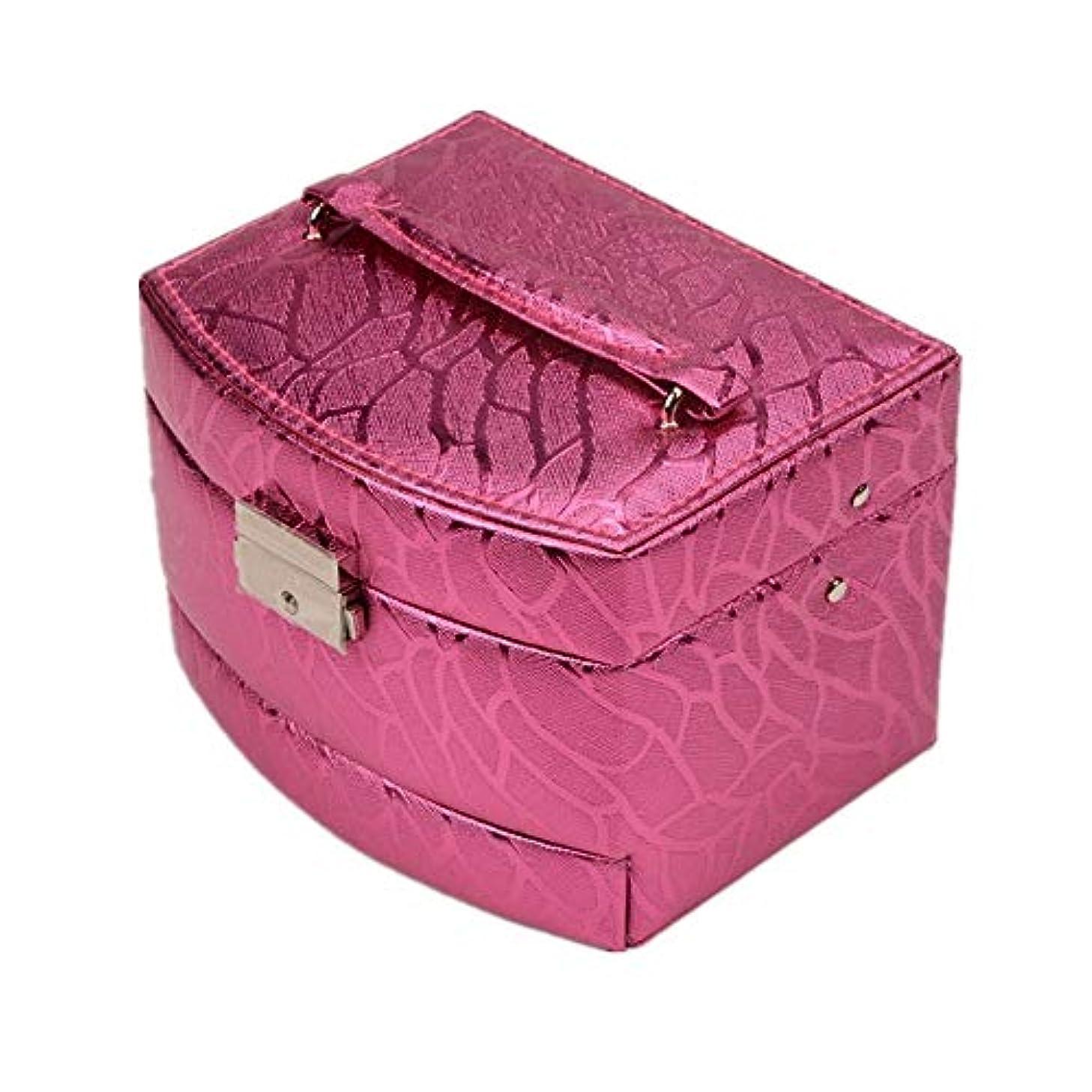 意志社交的ヘビ化粧オーガナイザーバッグ 光沢のあるポータブル多層化粧品美容メイクアップ化粧ケースロックと化粧品ミラー 化粧品ケース