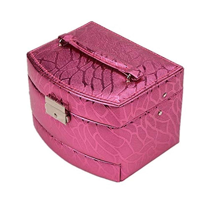 リッチ実質的広大な化粧オーガナイザーバッグ 光沢のあるポータブル多層化粧品美容メイクアップ化粧ケースロックと化粧品ミラー 化粧品ケース