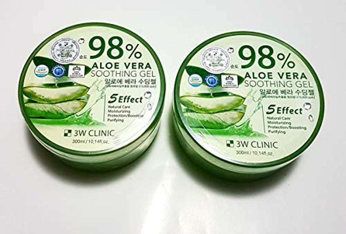マラウイ描く発言する3Wクリニック Aloe Vera Soothing Gel 300ml/10.14oz並行輸入品