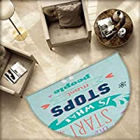 """Quotes 半円ドアマット 「Do More of What Makes You Happy Clouds Achievement Attitude Positivity Print Halfmoon doormats H 55.1"""" xD 82.6"""" Black White H 63"""" xD 94.5"""""""