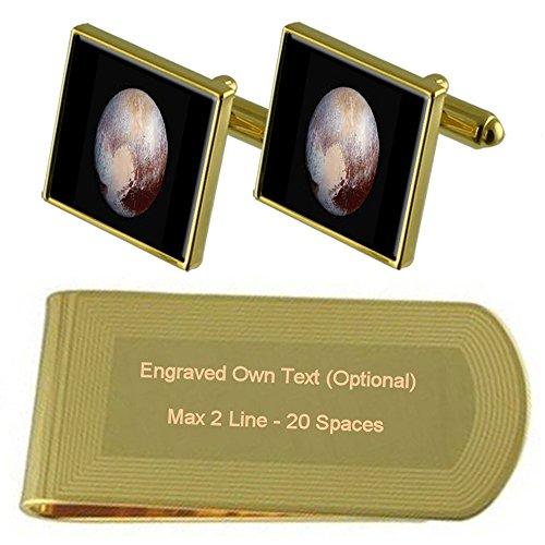 冥王星のゴールド・トーン カフスボタン お金クリップを刻まれたギフトセット
