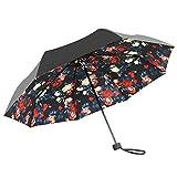 折りたたみ傘 8本骨 日傘 雨傘 晴雨兼用 完全遮光 UVカット( UVカット率 約99%/UPF50+) ブラック 花柄