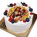 写真ケーキ 彩フレームタイプ 標準の白い生クリーム (4号(12cm)2~3人前)