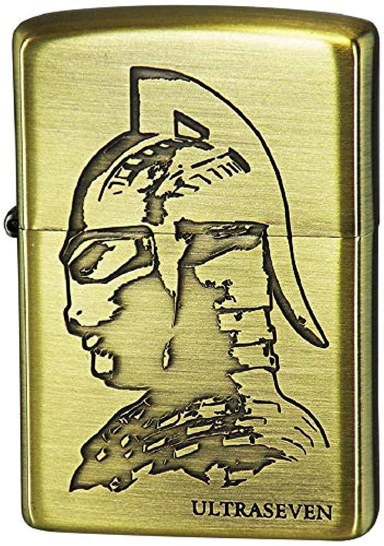 不健康サスティーントレイZIPPO(ジッポー) ライター ゴールド ウルトラマン シリーズ ウルトラセブン カプセル怪獣 両面加工 ブラス