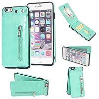 iPhone 6 Plus/6s Plus ケース 財布型 カード収納 落下防止 フルカバレッジ レザー バンパー カバー Perfect (Color : Green)