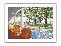 モアナのロマンス - モアナホテル、ワイキキビーチ - ホノルル、ハワイ アメリカ合衆国 - オリジナルハワイ水彩画から によって作成された ペギー チュン - プレミアム290gsmジークレーアートプリント - 30.5cm x 41cm