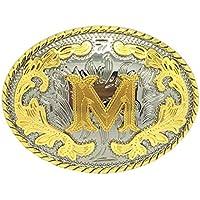 Baoblaze Western Hip Hop Oval A Z W M Initial Letter Belt Buckle For Cowboy Cowgirl 1Pc