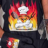 Grill Master The Man The Myth The Legend Premium Quality Apron and Oven Mitt Set
