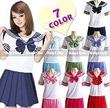 【 選べる7色♪ 】可愛すぎるセーラー服 ☆ コスプレ コスチューム 制服 衣装 オリジナルハイソックス付き♪ (ローズピンク)