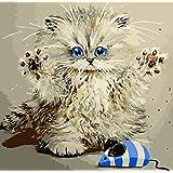 数字によるDiy油絵、数字キットによるペイント - 動物猫キャッチマウス16 * 20インチリネンキャンバス - デジタル油絵壁アートアートワーク大人のための高度な子供高齢者ジュニア
