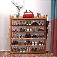 シェルフ_シンプルな靴のラック、木製の靴のキャビネットの多層、ストレージラックの家のアセンブリ、リビングルームのストレージドアシューキャビネット(6層)