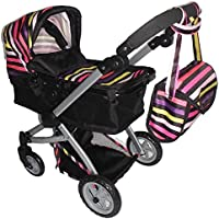 Babyboo Deluxe Doll Pram with Swiveling Wheels & Adjustable Handle and Free Carriage Bag [並行輸入品]