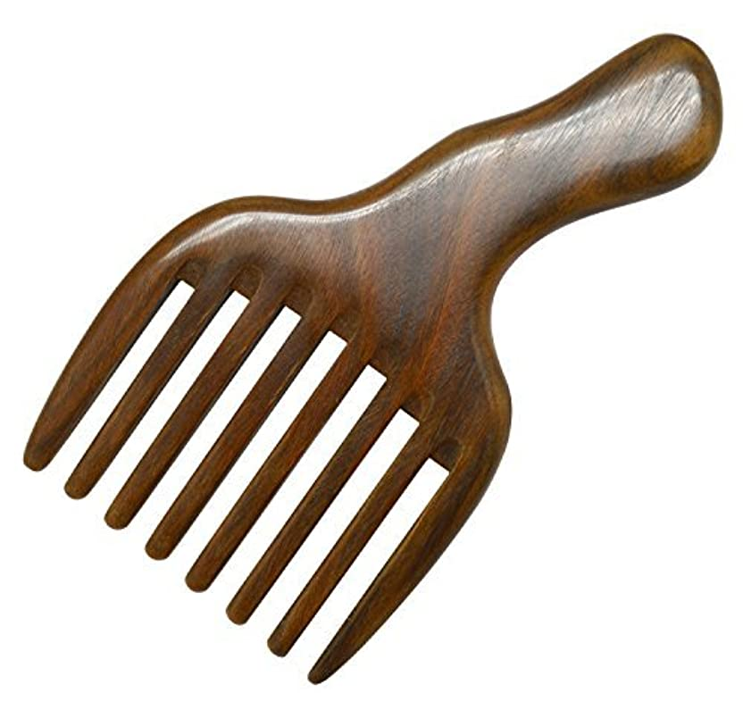 駅派手ゴミMeta-C Hair/Beard Pick/Comb ? Made Of One Whole Piece Of Natural Green Sandal Wood With Fantastic Handle (Wide...