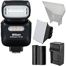 Nikon SB-500 AF Speedlight Flash & LED Video Light with EN-EL15 Battery & Charger + Softbox + Reflector Kit for D7000, D7100, D600, D500, D610, D750, D800, D810 Camera