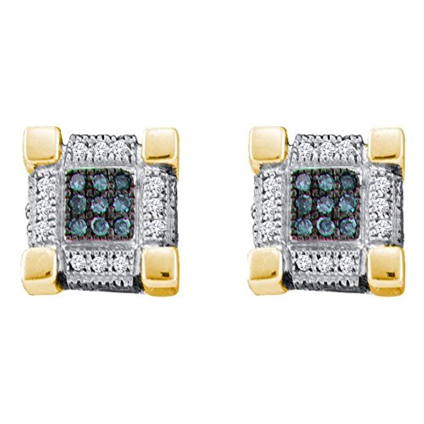 原理モーション高音10 KTイエローゴールドメンズラウンドブルー色Enhancedダイヤモンドキューブ正方形3dクラスタイヤリング1 / 4 cttw